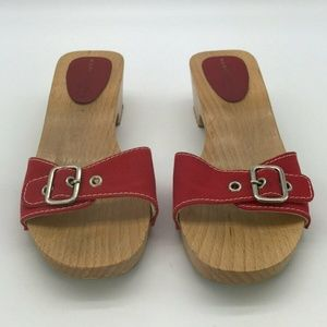 Marc Jacobs Red Wood Mules Size 8.5